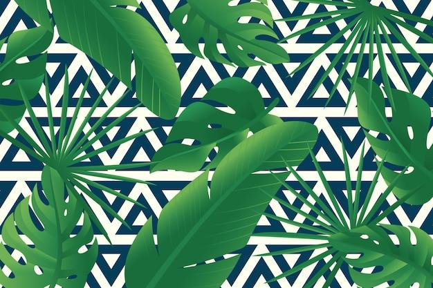 Tropisches laub mit geometrischem hintergrund