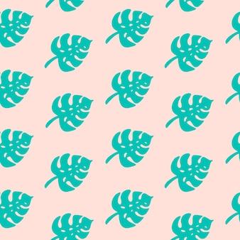 Tropisches monstera-palmenblattmuster. nahtloses exotisches muster mit blauen tropischen monsterablättern auf rosa hintergrund. vektor-illustration von silhouetten laub. druck für textilien, verpackungen, verpackungen.