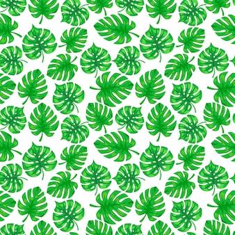 Tropisches monstera-palmenblattmuster. nahtloses exotisches muster mit tropischen monsterablättern. vektorillustration des tropischen laubs der silhouetten. druck für textilien, verpackungen, verpackungen.