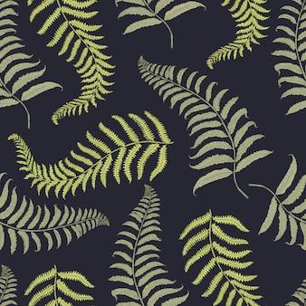 Tropisches muster der nähte vintage mit blättern, handgezeichnet oder enrgaved. vintage aussehende blätter und pflanzen