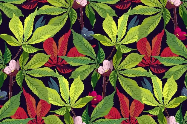 Tropisches muster des kunstblumenvektors.