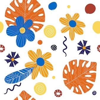 Tropisches muster des nahtlosen schönen künstlerischen sommers mit exotischem wald.
