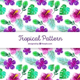 Tropisches muster mit aquarellblumen