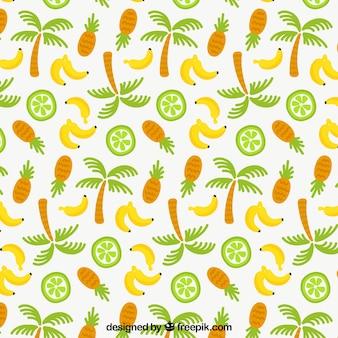Tropisches muster mit palmen und früchten