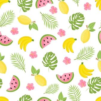 Tropisches muster. nahtloser dekorativer hintergrund mit gelben bananen, ananas, wassermelone und palmblättern. helles sommerdesign auf dem hintergrund der trend grunge-linie. vektor-illustration