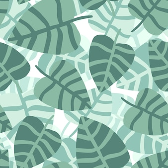 Tropisches muster, palmblätter nahtloser vektorblumenhintergrund. exotische pflanze. sommer natur hand zeichnen dschungel druck.
