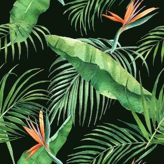 Tropisches musterdesign mit verschiedenen blattkonzept, illustration.
