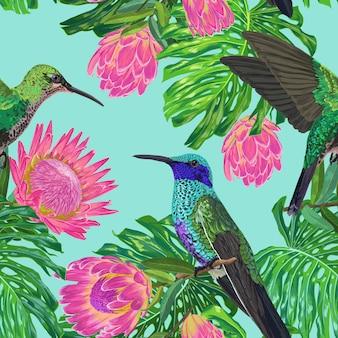 Tropisches nahtloses blumenmuster mit exotischen blumen und kolibri. blühende protea-blumen, vögel und monstera-blätter hintergrund für stoff, tapete, textil. vektor-illustration