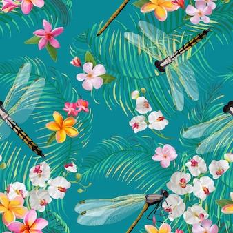 Tropisches nahtloses blumenmuster mit libellen