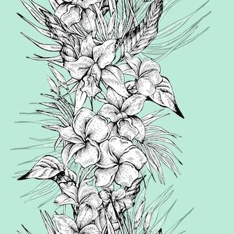 Tropisches nahtloses mit blumenmuster der vektorweinlese