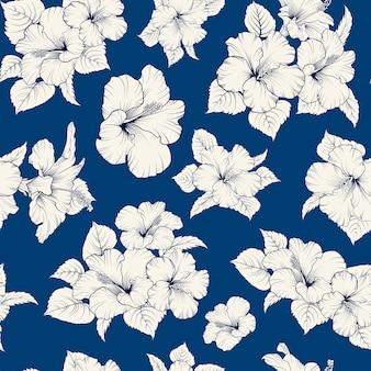 Tropisches nahtloses muster. blühender hibiskus