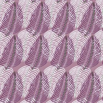 Tropisches nahtloses muster der sommerart mit pastellvioletten tönen farnblätter drucken. abstrakte gekritzelverzierung. grafikdesign für packpapier und stofftexturen. vektor-illustration.