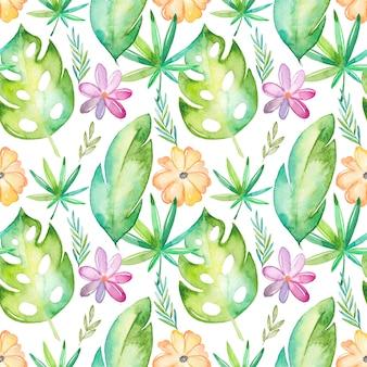 Tropisches nahtloses muster des aquarells mit blumen und blättern