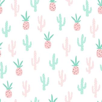 Tropisches nahtloses muster mit ananas und kaktus