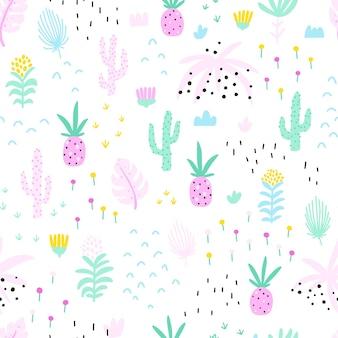 Tropisches nahtloses muster mit ananaskaktus und blumen
