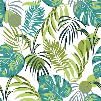 Tropisches nahtloses muster mit anlagen und blättern auf weißem hintergrund