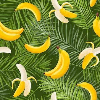 Tropisches nahtloses muster mit bananen- und palmblättern