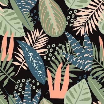 Tropisches nahtloses muster mit blättern und abstraktion auf dunklem hintergrund