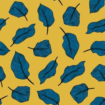 Tropisches nahtloses muster mit exotischen palmblättern. botanisches design aus exotischem textil. sommer dschungel design. hawaiianischer stil.