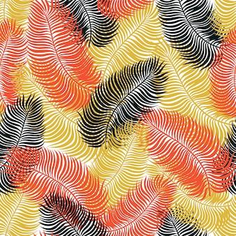 Tropisches nahtloses muster mit exotischen palmblättern.
