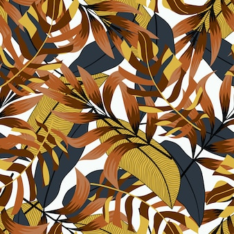 Tropisches nahtloses muster mit gelb-schwarzen tönen. tropischer hintergrund, vektordesign. buntes stilvolles blumen