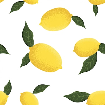 Tropisches nahtloses muster mit gelben zitronen
