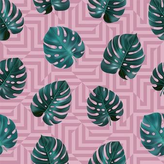 Tropisches nahtloses muster mit grünen blättern monstera auf rosa geometrischem hintergrund. vorlage für textil, tapete, websites, karte, stoff, web.