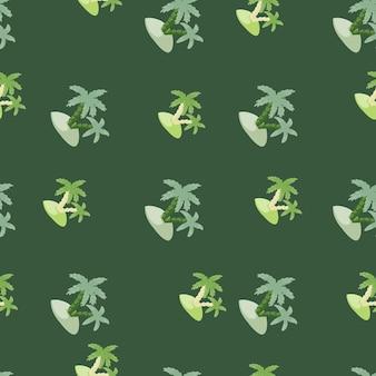 Tropisches nahtloses muster mit handgezeichneten insel- und palmenformen. grüner hintergrund. exotischer naturdruck.