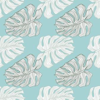 Tropisches nahtloses muster mit konturierten mostera-blättern drucken. blauer hintergrund. exotischer stil. dekorative kulisse für stoffdesign, textildruck, verpackung, abdeckung. vektor-illustration.