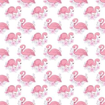Tropisches nahtloses muster mit niedlichem flamingo und blumen.
