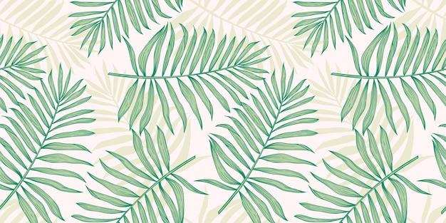 Tropisches nahtloses muster mit palmblättern.