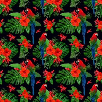 Tropisches nahtloses muster mit roten blumen und papageienara für tapetendesign