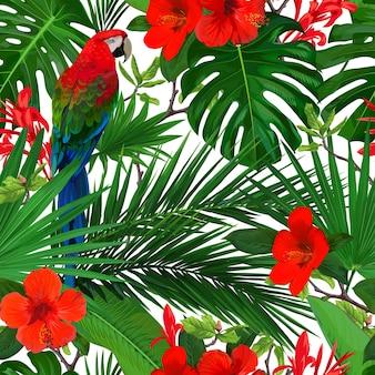Tropisches nahtloses muster mit roten blumen und papageienara