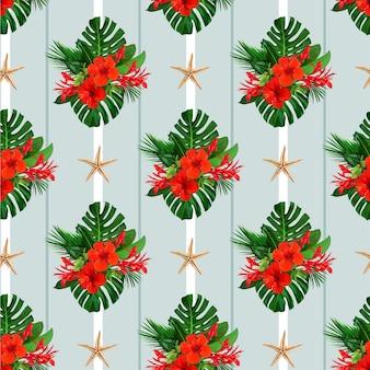 Tropisches nahtloses muster mit roten hibiskusblüten für tapetendesign