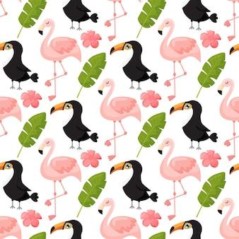 Tropisches nahtloses muster mit tukan-flamingos und exotischen blättern