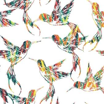 Tropisches nahtloses muster mit vogel.