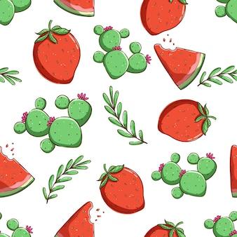 Tropisches nahtloses muster sommermuster erdbeere wassermelone und kaktus