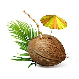 Tropisches natürliches getränk der kokosnuss und niederlassungs-vektor. coconut exotischer cocktail mit strohhalm und dekorierten regenschirm, palmgrünen blättern. coco beach getränke vorlage realistische 3d-illustration