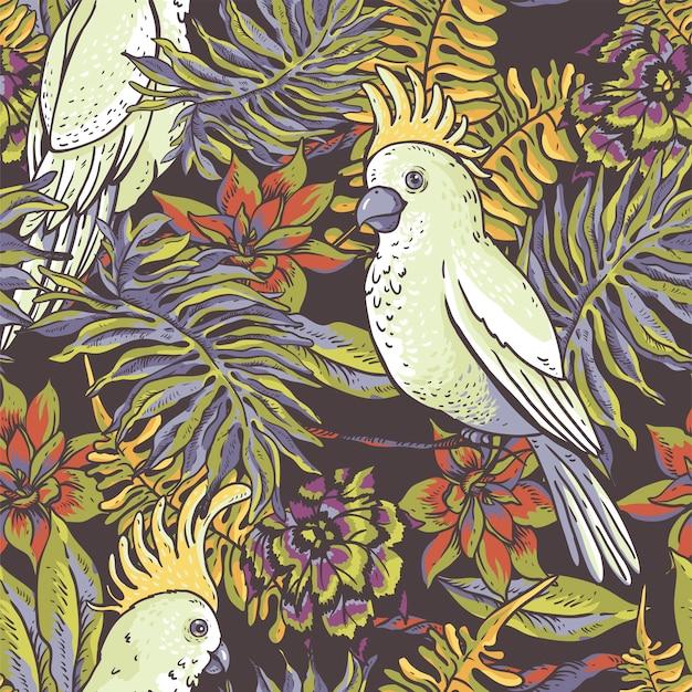 Tropisches natürliches nahtloses mit blumenmuster. weißer papagei, grünbeschaffenheit