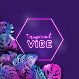 Tropisches neon-vektorbanner, sommerstrandferienplakat, monstera-palmenblätter-design, tropischer heller hintergrund, paradiespartyillustration, lebendige violette vorlage mit textplatz