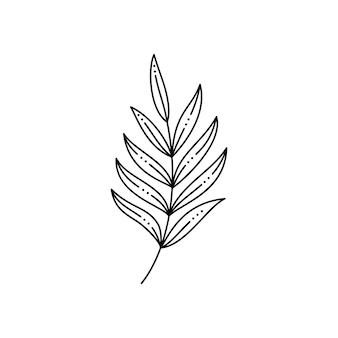 Tropisches palmblatt im trendigen minimalistischen liner-stil. vektor-illustration zum drucken auf t-shirts, webdesign, schönheitssalons, postern, erstellen eines logos und andere