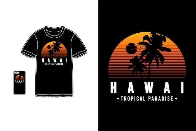 Tropisches paradies auf hawaii für t-shirt design silhouette