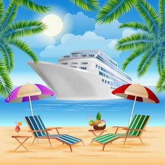 Tropisches paradies. kreuzfahrtschiff