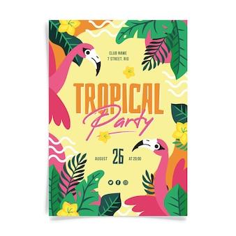 Tropisches partyplakat mit flamingos