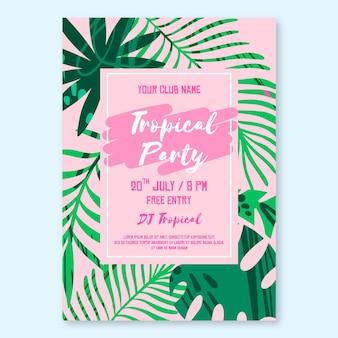 Tropisches partyplakatschablonenentwurf