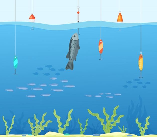 Tropisches seefischereikonzept, flache vektorillustration des sauberen wasser-angelplatzes. menschliche person hobby angeln küstenbewohner.