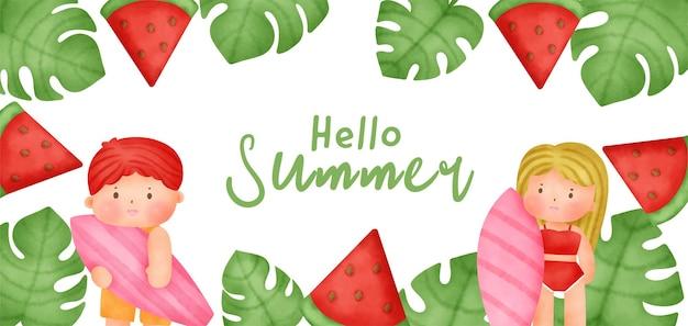 Tropisches sommerbanner mit sommerelementen