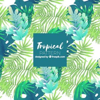 Tropisches sommermuster mit grünpflanzen