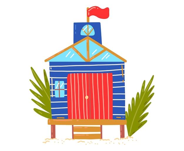 Tropisches strandhaus, aktive, heiße sommerferien, küstenhütte, entwurfskarikaturartillustration, lokalisiert auf weiß. grüne palme in der nähe der hütte, ruhe auf der insel, gemütliches holzbungalowgebäude