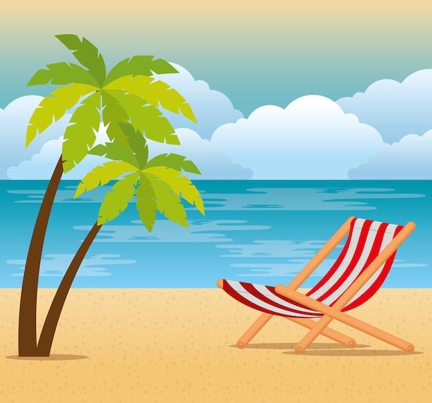 Tropisches strandsommerszenenvektor-illustrationsdesign